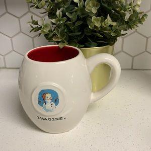 Rae Dunn Magenta Snowman Christmas Coffee tea Mug Imagine white red